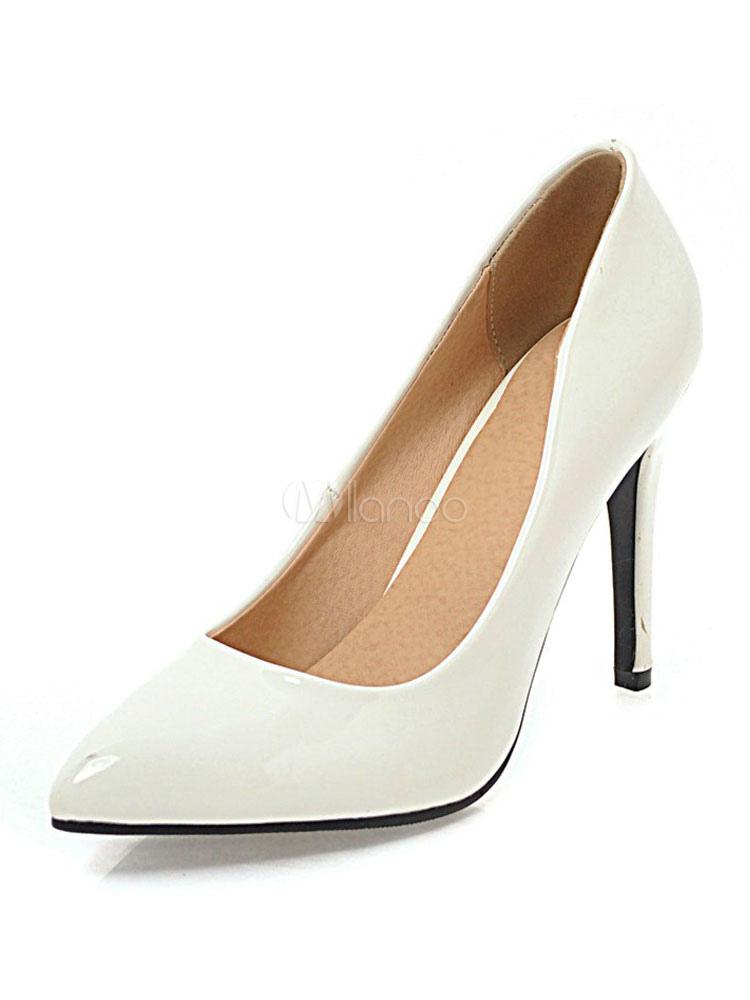Weiße High Heels Spitzschuh Slip On Pumps Frauen Kleid Schuhe