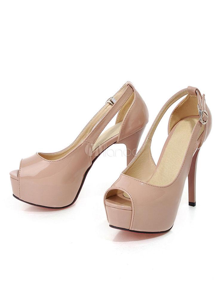 f66d3ac58f2 Nude High Heels Peep Toe Platform Cut Out Stiletto Heel Pumps Women Dress  Shoes-No ...
