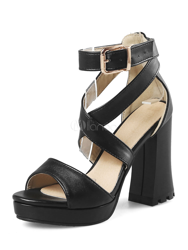 00b4f073199 High Heel Sandals White Open Toe Criss Cross Ankle Strap Pumps Women Shoes -No.