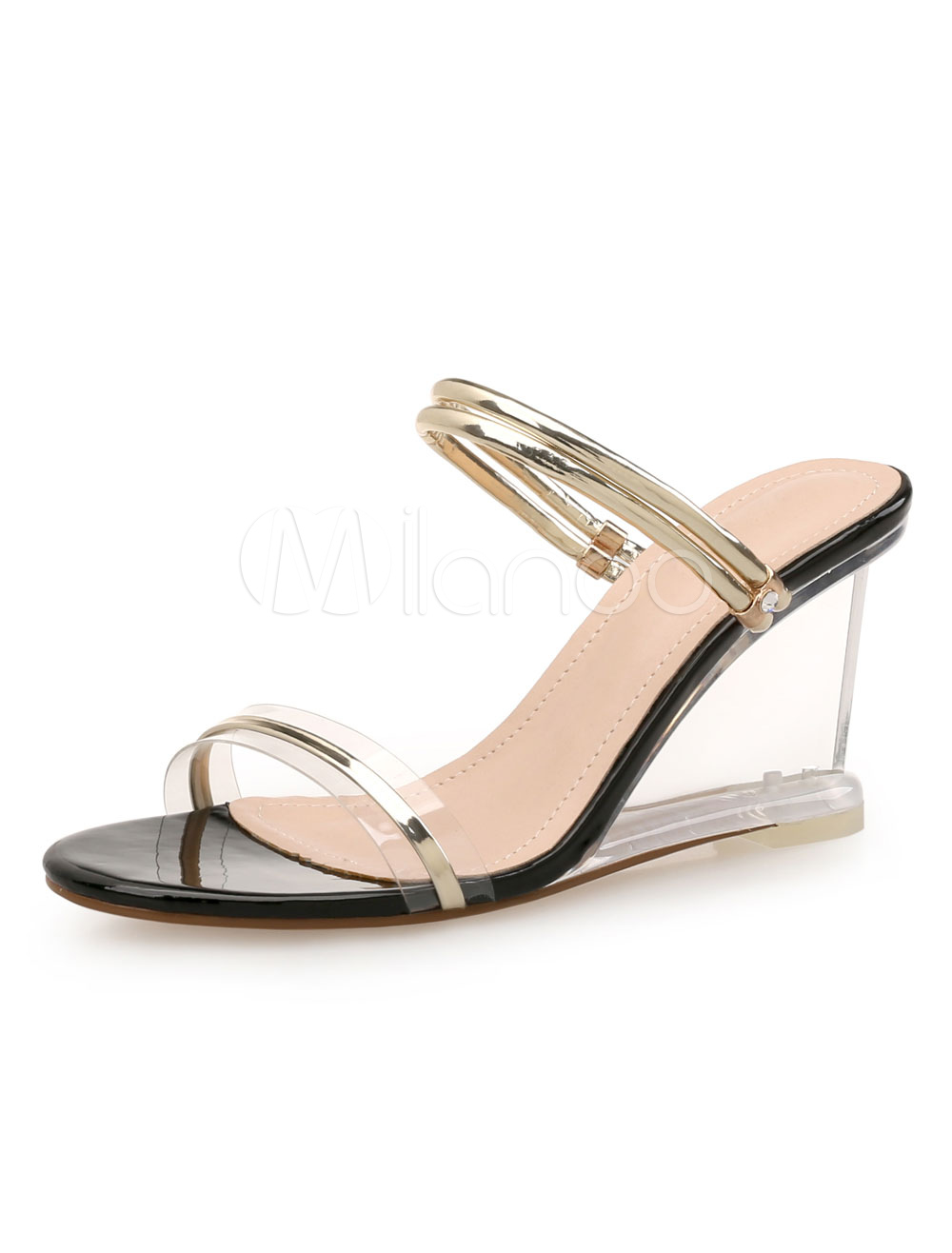 cc4a73393f42 ... Gold Wedge Sandals Women Shoes Open Toe Slide Sandals-No.6. 12. 50%OFF.  Color Blond