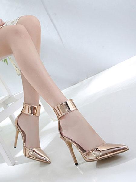 Tobillo Pumps Oro Altos 2019 Zapatos Punta Puntiaguda Correa Tacones De Mujer 435jLAqR