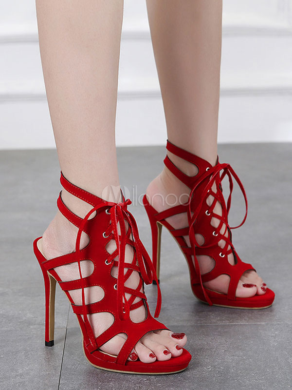 Women Gladiator Sandals Red High Heels Suede Open Toe Cut Out Lace Up Sandal  Shoes- ...