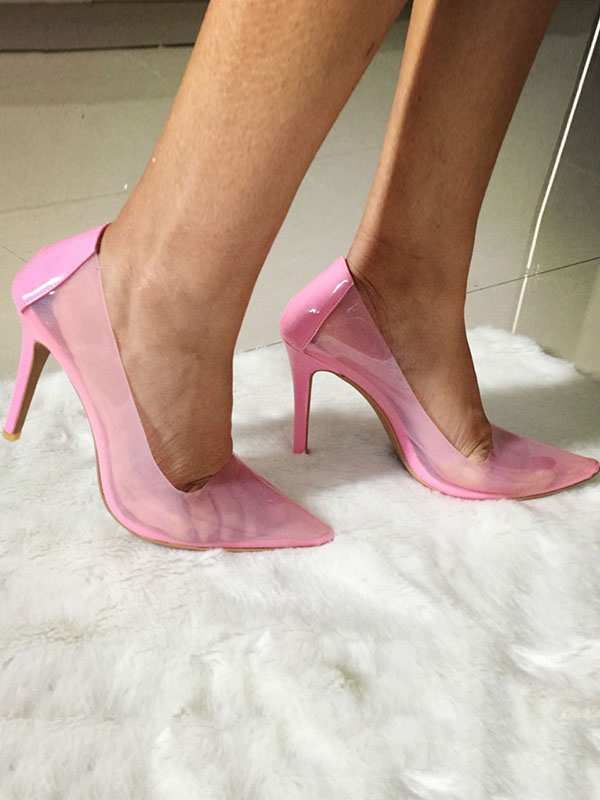 Haut Escarpins Talon 2019 Chaussures Femme Transparent Talons Rose rWedCoBx