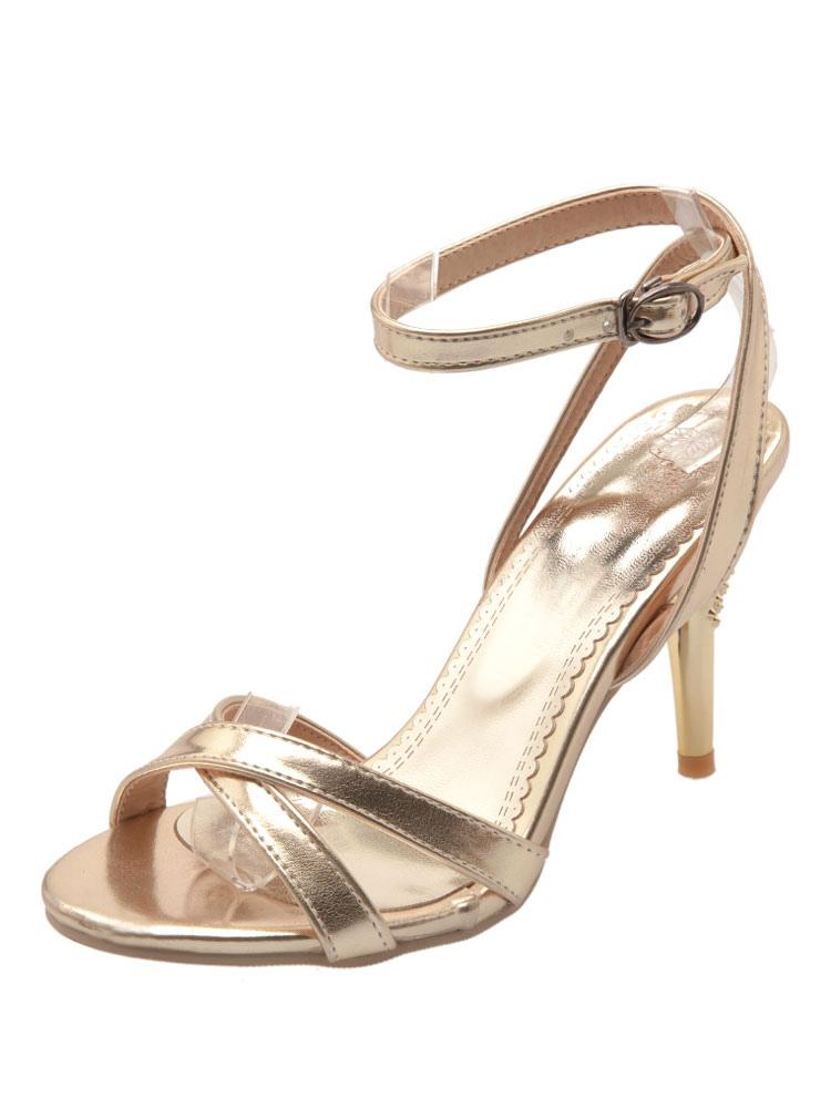 super popular b257f 8954b Sandalias de tacón alto Detalle de sandalias de punta abierta con detalle  de hebilla dorada Sandalias de vestir de mujer