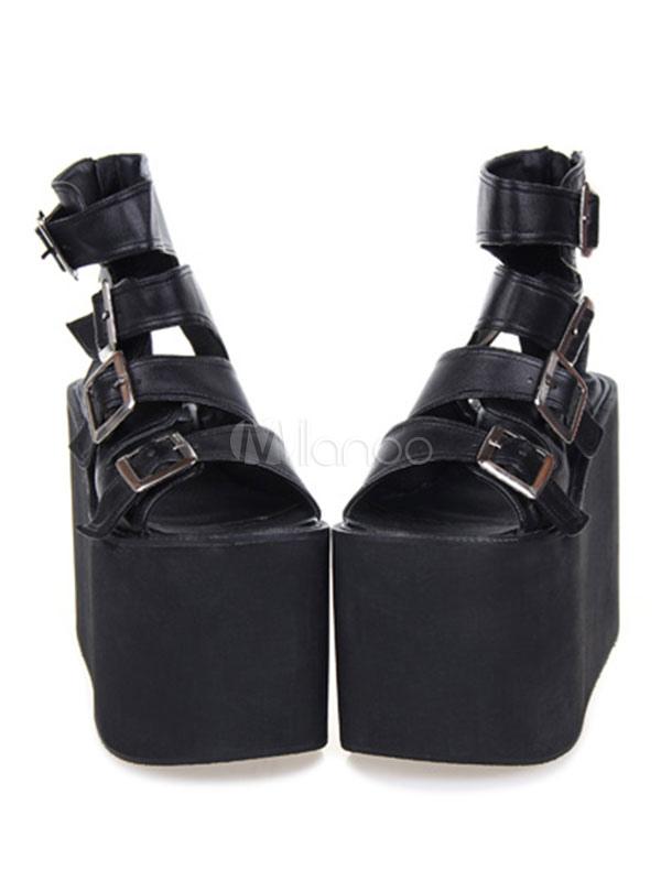 Gothique Métallique Boucle Pu Noir Plate Sandale Lolita Forme PZiOkXu
