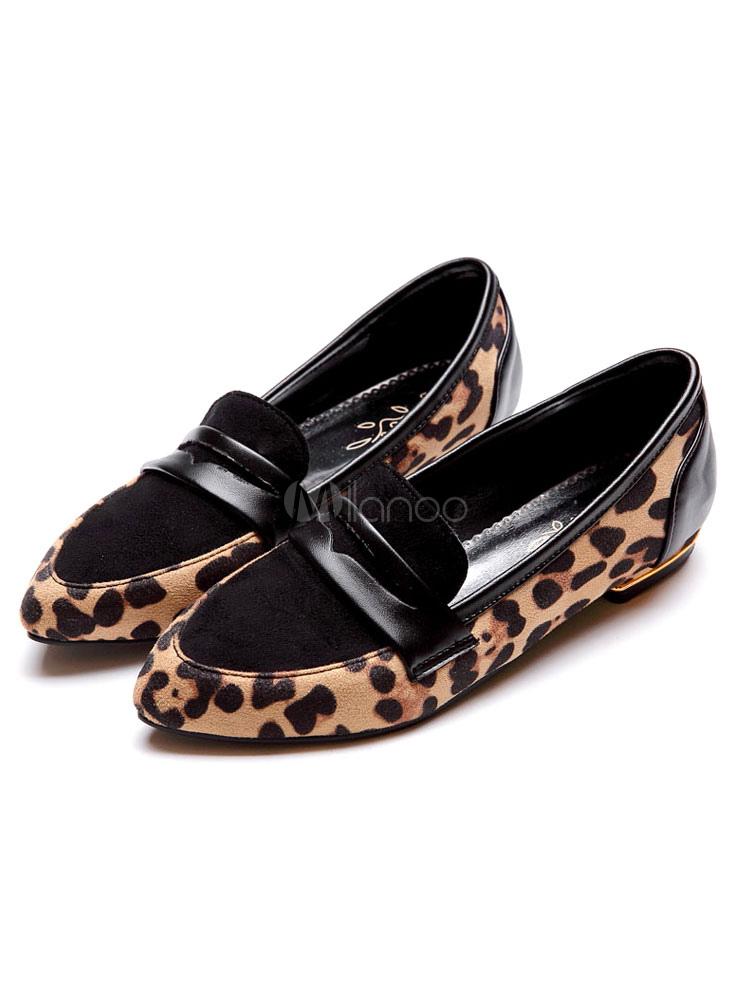 Mocasines de mujer marrón ante de gamuza con cordones de leopardo antideslizante zapatos planos zapatos 2JfOtqPK3
