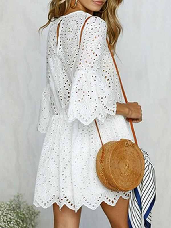 b718c96e561 Robe blanche d été manches évasées détouré 2019 Mini robe - Milanoo.com