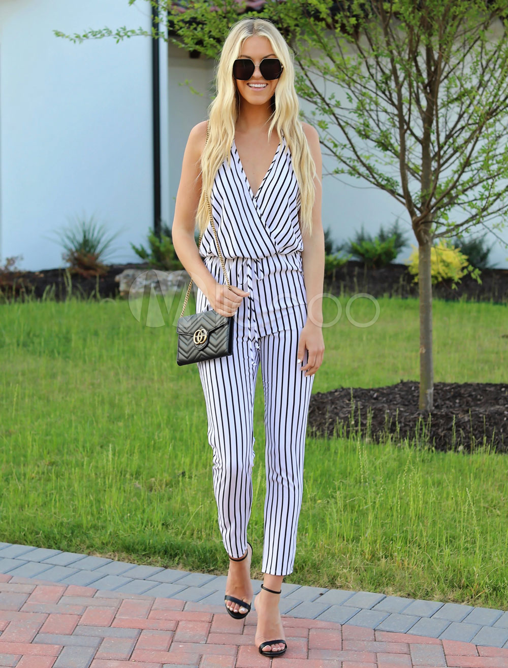 Buy White Striped Jumpsuit V Neck Sleeveless Summer Jumpsuit For Women for $23.99 in Milanoo store