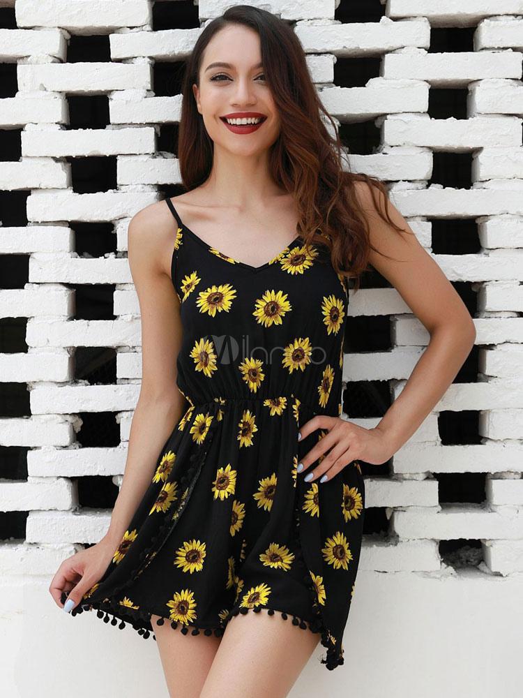 1fbfb6e9b7e8 Women Black Romper Straps Daisies Print Pom Poms Summer Playsuit-No.1 ...