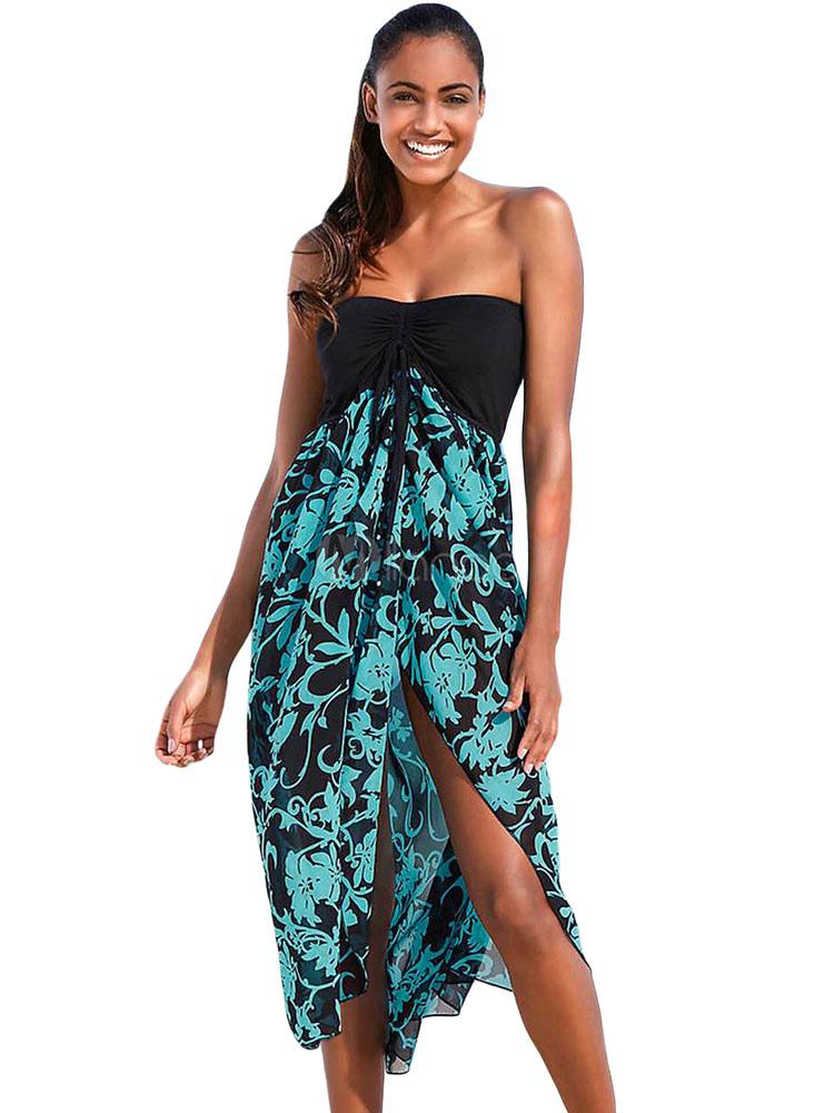 dfc04fab42af Summer Dresses 2019 Strapless Printed High Low Beach Dress - Milanoo.com