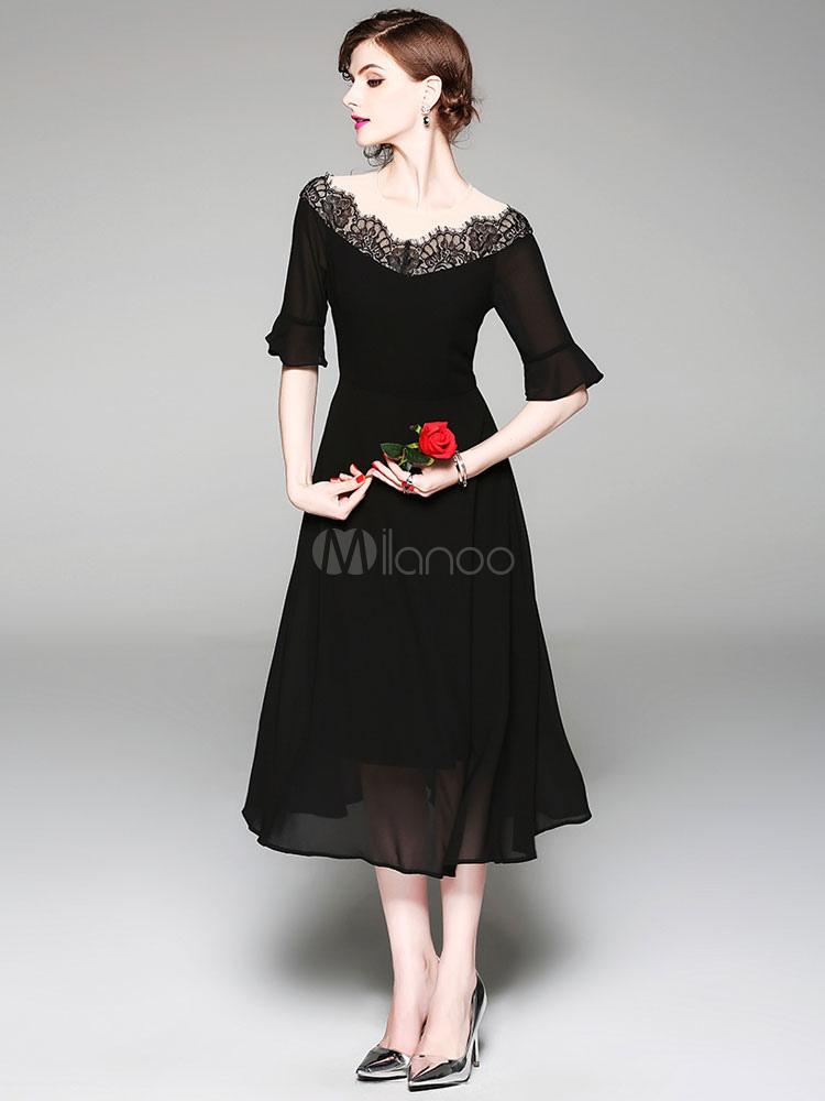 3a69a37eee4 Robe longue noire col en V à manches mi-longues en dentelle en mousseline  de ...
