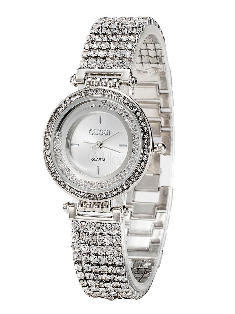 Reloj de pulsera de cuarzo de diamantes de imitación de plata del reloj de  pulsera de ... 00c906469a37