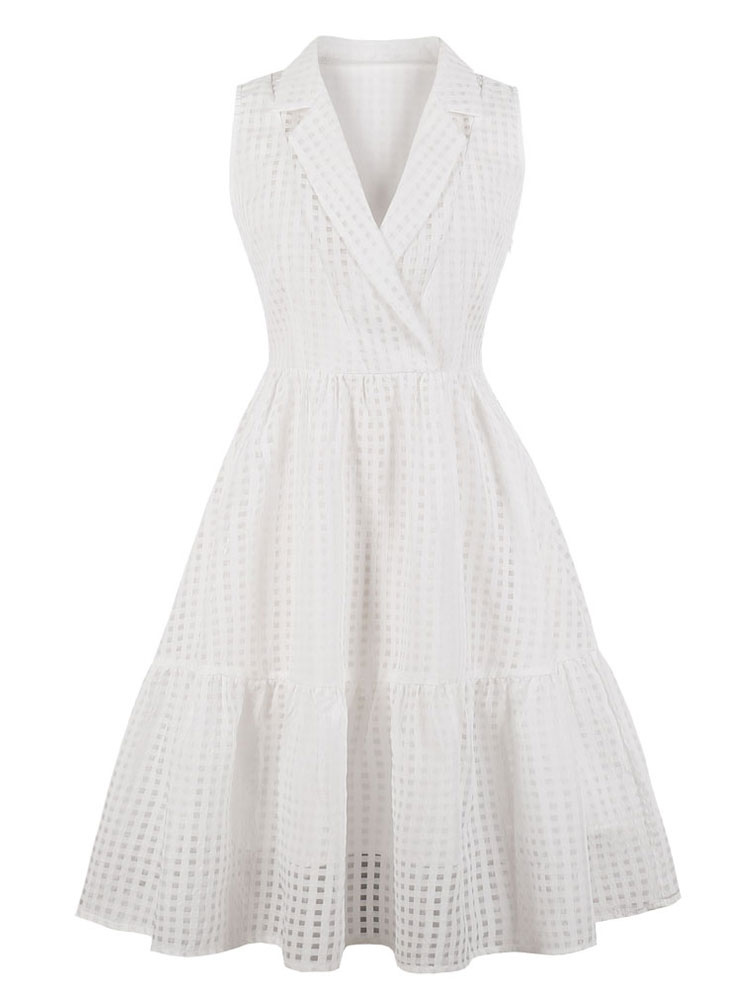 126e5d2ed1a White Vintage Dress Plaid Sleeveless Notch Collar Summer Dress-No.1 ...