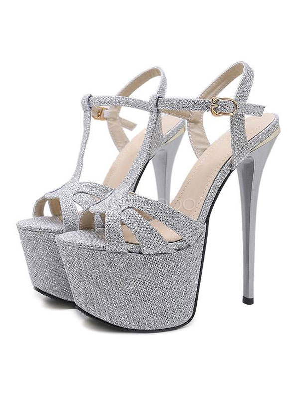 09aacd66502 ... Silver Sexy Sandals Glitter Platform Peep Toe Buckle Detail Stiletto Heel  Shoes High Heel Sandals- ...