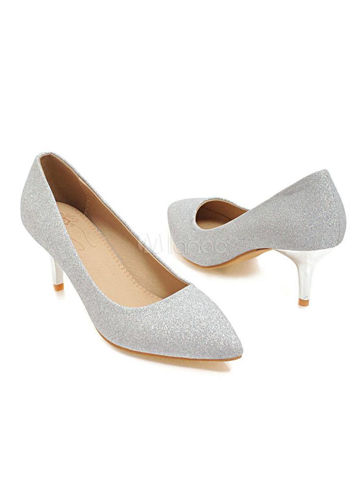 Kitten Heel Pumps Gold Pointed Toe Slip On Pumps Women Dress Shoes -  Milanoo.com