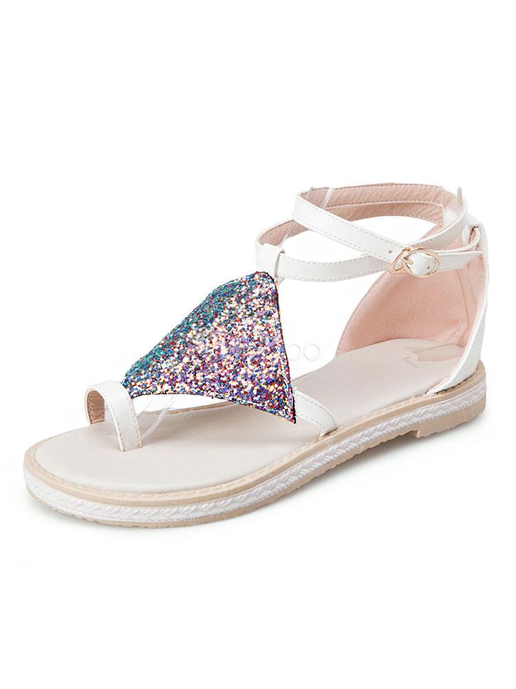 82c95243e96a4d ... Sandales Femmes de plage bleu pailleté bout Boucle à lacet 2019 Sandales  plates Chaussures d' ...