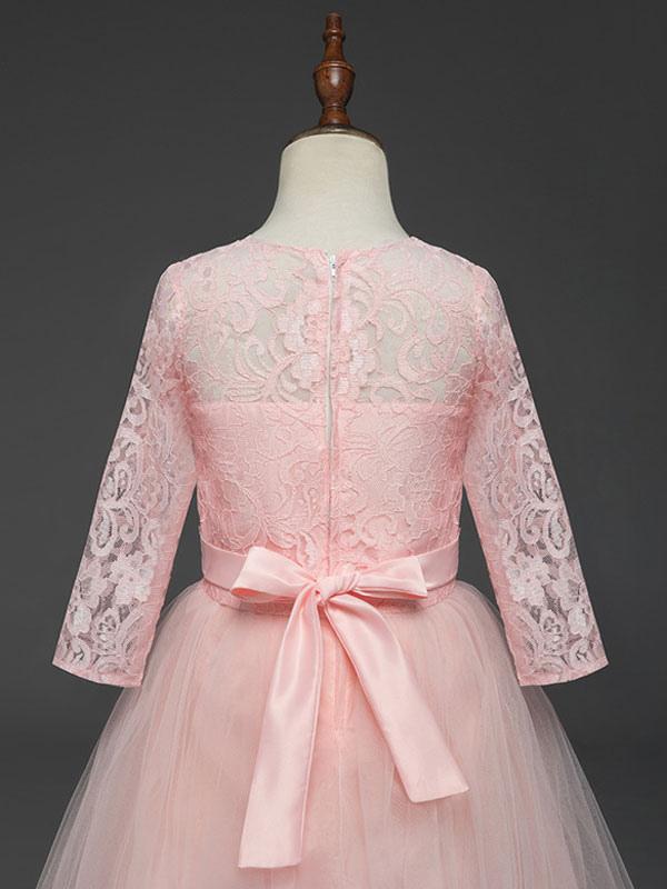 Vestidos de niña de las flores de color rosa suave Niños Vestido ...