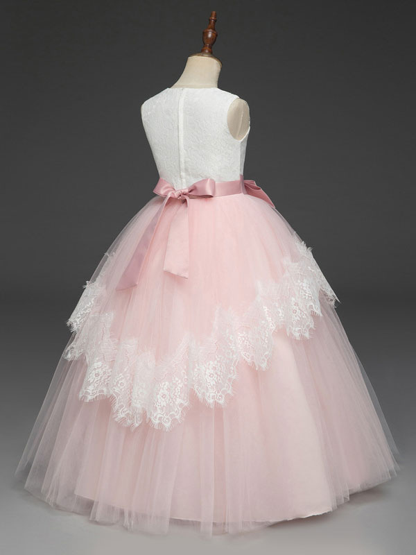 Flower Girl Dresses Soft Pink Kids Formal Dress Lace Bows