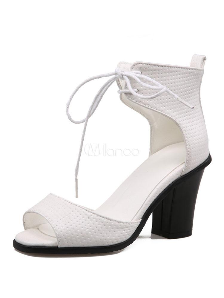 Orteil Cheville Pour Chaussures Blanc Sandale Femmes Ouvert À Lacets Talons Hauts Sandales 43ALq5Rj