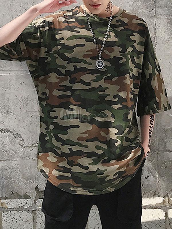 0566949f Cotton Men T Shirt Plus Size Camo Print U Hem Hip Hop Relaxed Fit Short  Sleeve ...