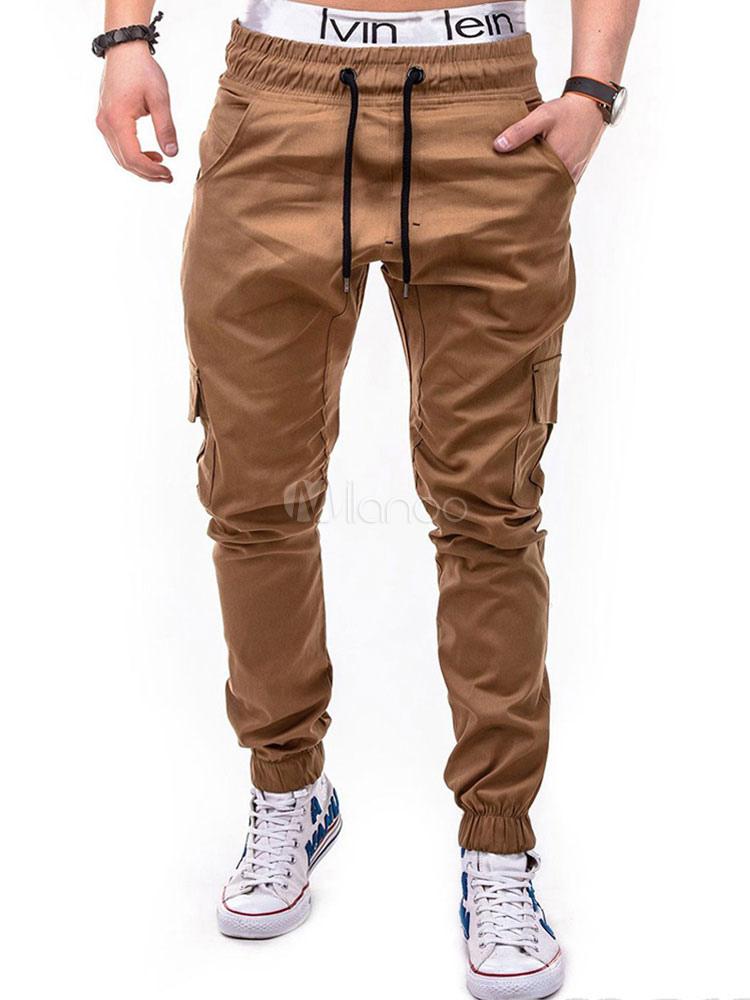 Buy Men Pant Khaki Pocket Drawstring Jogger Pant Tapered Fit Track Pant for $22.39 in Milanoo store