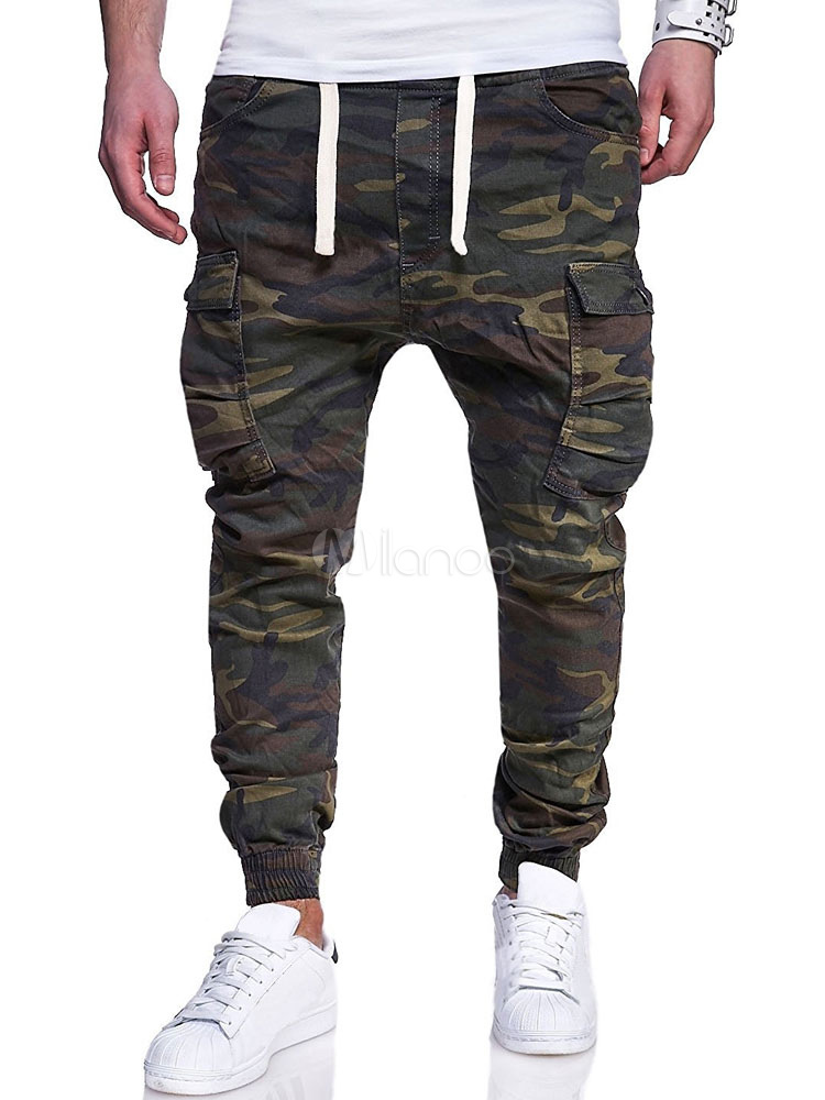 Buy Men Cargo Pant Plus Size Camo Print Pocket Hunter Green Tapered Fit Pant Casual for $23.99 in Milanoo store