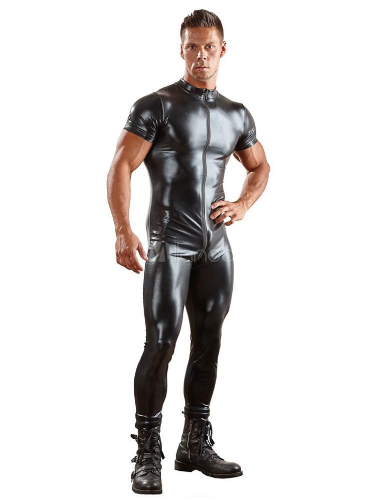 Black Sexy Jumpsuit Zipper manches courtes en PVC justaucorps hommes Club  Wear-No.1 ... 1b2c55c303e