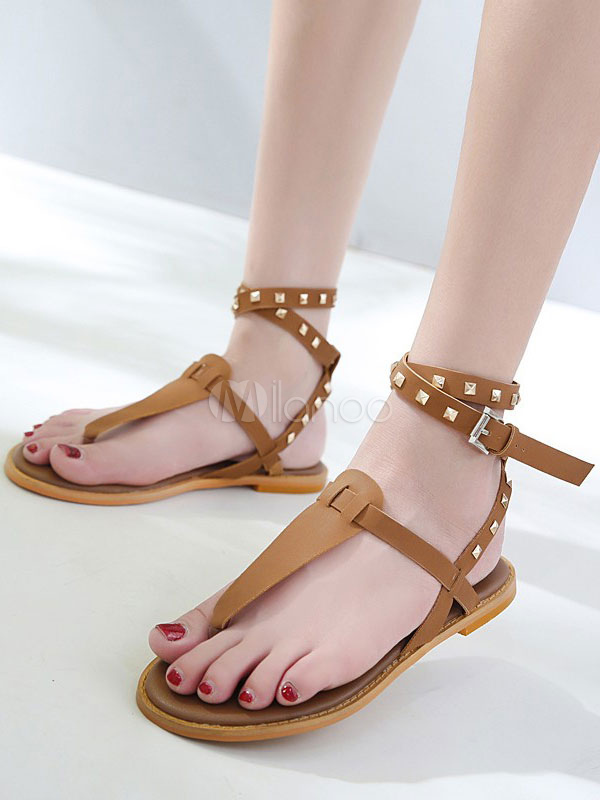 Buy Brown Gladiator Sandals Women Flat Sandals Thong Rivets Ankle Strap Summer Shoes for $31.19 in Milanoo store