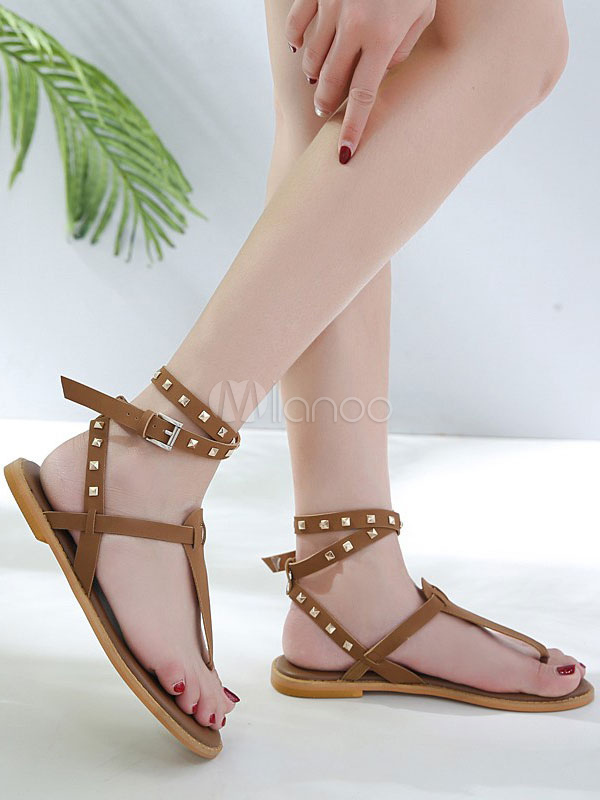 f15acdd123a ... Brown Gladiator Sandals Women Flat Sandals Thong Rivets Ankle Strap  Summer Shoes-No.3 ...