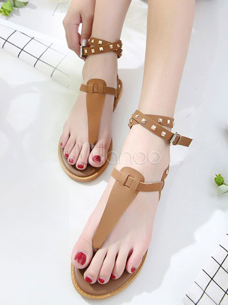 032fbe0027a ... Brown Gladiator Sandals Women Flat Sandals Thong Rivets Ankle Strap  Summer Shoes-No.5