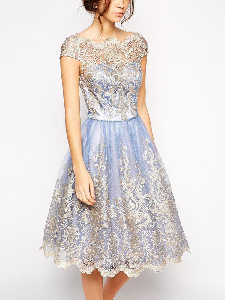 783d0783d ... فستان سهرة حريمي رائع ، موديل صيفي طويل ، باللون الأزرق الساحر-No.3 ...