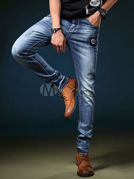 Straight Leg Jeans Distressed Applique Blue Denim Jean For Men