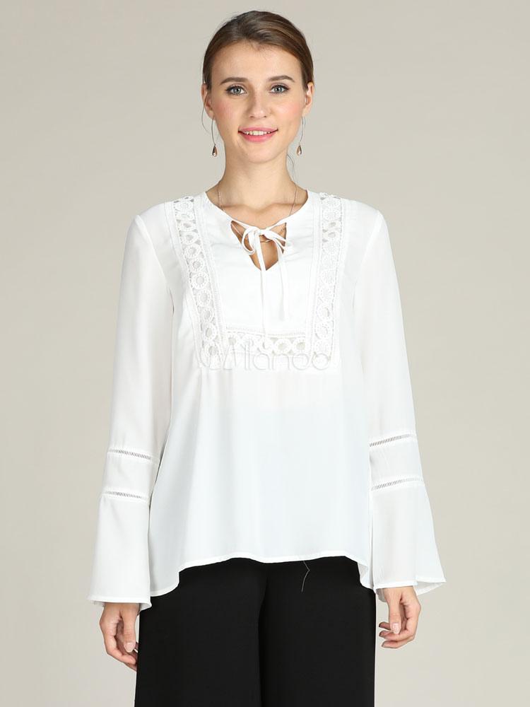 6bed7fe6a7 Blusas blancas para mujeres Top casual de manga larga - Milanoo.com