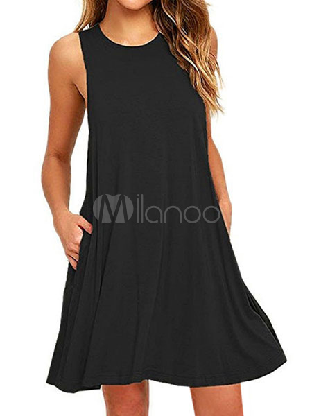 5f3065627ff ... Summer Dresses 2019 Sleeveless Sundress Solid Color Tunic Dress-No.6 ...