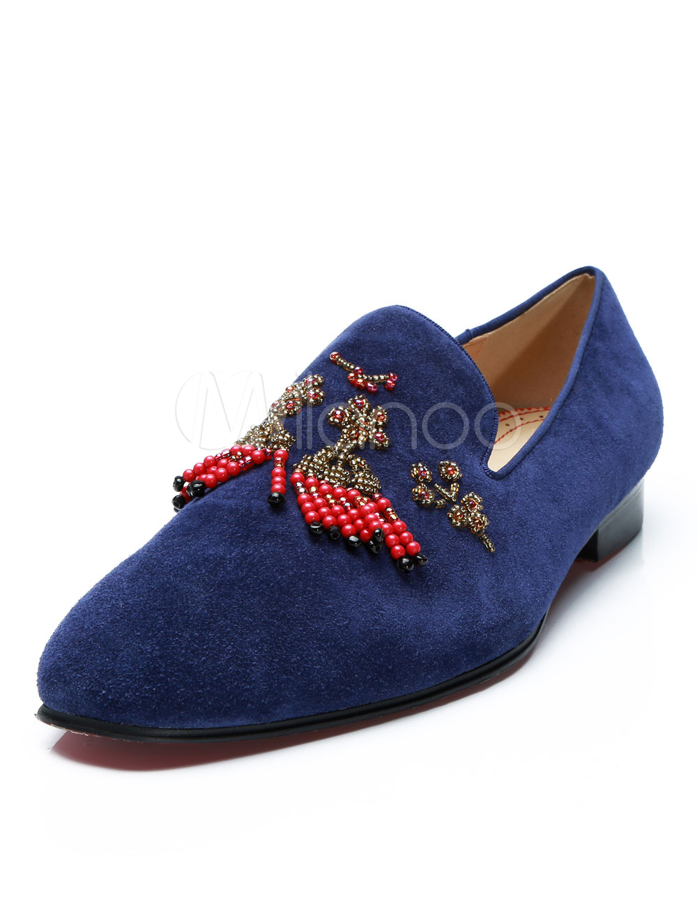 Buy Blue Men Loafers Suede Leather Round Toe Beaded Slip On Shoes Party Shoes for $103.49 in Milanoo store