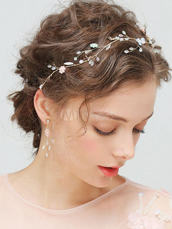 Wedding Headpieces Earrings Gold Alloy Beading Bridal Hair Accessories