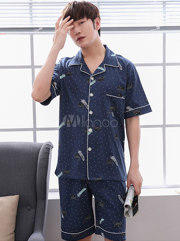 Buy Men Lounge Wear Polka Dot Print 2 Pieces Summer Cotton Home Wear for $29.59 in Milanoo store