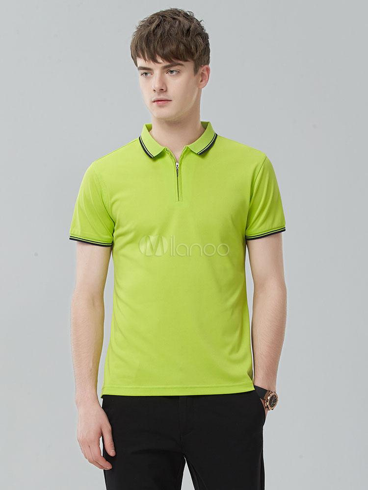 Buy Men Golf Shirt Cotton Stripe Piping T Shirt Green Regular Fit Short Sleeve Polo Shirt for $21.59 in Milanoo store
