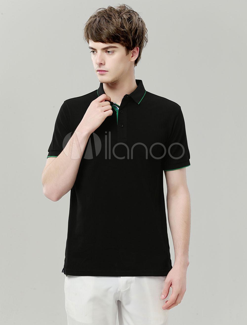 Buy Black Polo Shirt Cotton Piping Regular Fit Short Sleeve Golf Shirt Men T Shirt Casual for $17.99 in Milanoo store