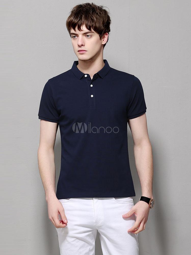 Buy Cotton Men T Shirt Navy Blue Polo Shirt Cuban Collar Short Sleeve Golf Shirt for $21.59 in Milanoo store