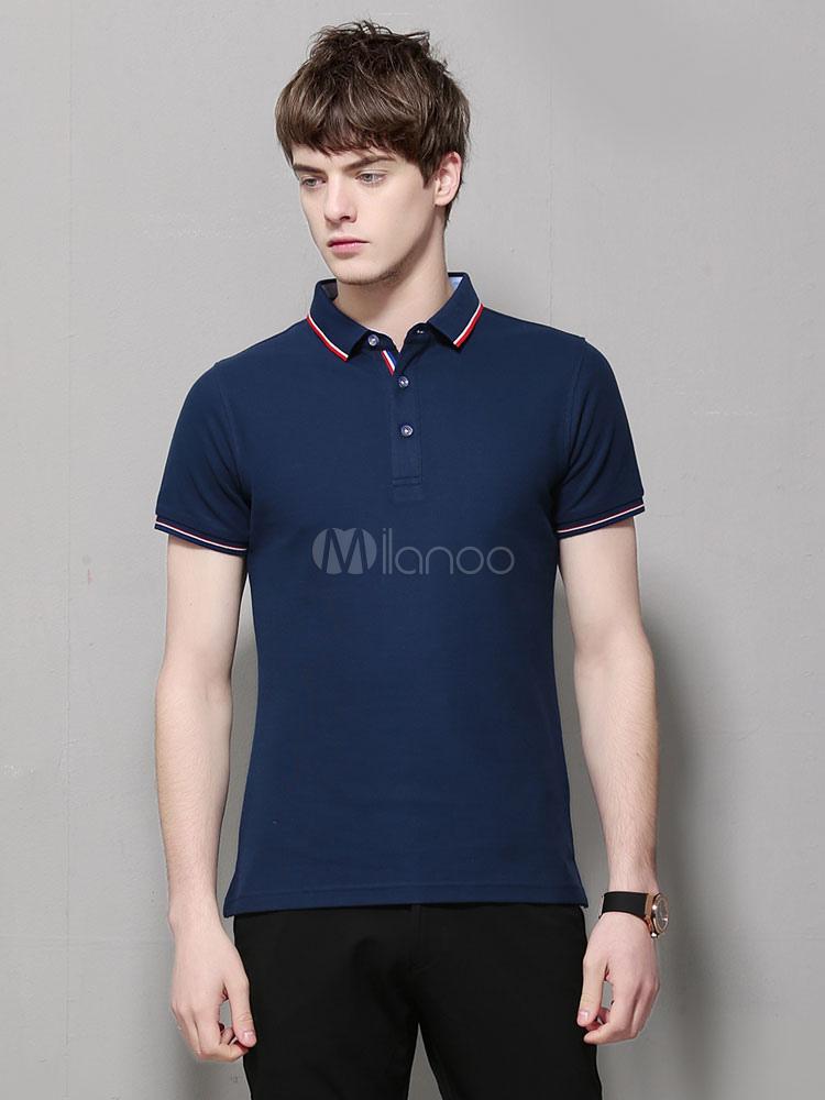 Buy Men Polo Shirt Cotton Stripe Regular Fit Short Sleeve T Shirt for $22.49 in Milanoo store