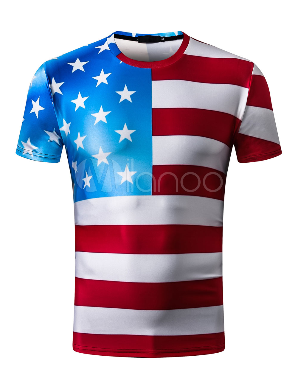 Buy Men T Shirt Patriotic American Flag Print The Stars And The Stripes Short Sleeve T Shirt for $11.69 in Milanoo store