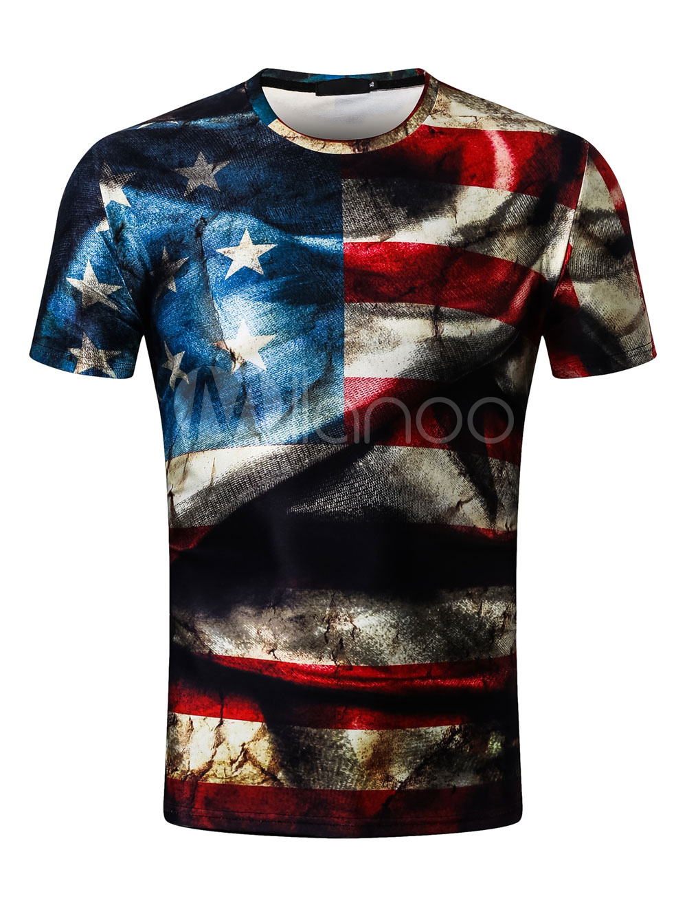 Buy Men Short Sleeve T Shirt American Flag Print Regular Fit Patriotic T Shirt for $11.69 in Milanoo store