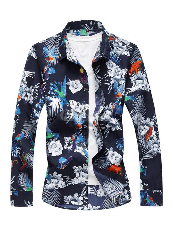 Buy Men Beach Shirt Cotton Plus Size Floral Print Navy Blue Shirt Long Sleeve Shirt for $19.79 in Milanoo store