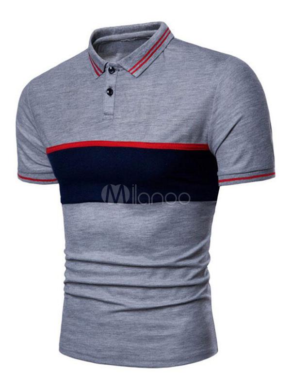 Buy Men Polo Shirt Cotton Stripe Color Block Regular Fit Short Sleeve T Shirt for $17.59 in Milanoo store