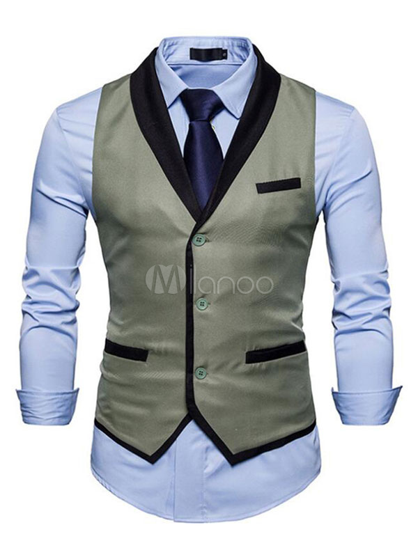 Buy Men Suit Vest Shawl Lapel Pocket Front Button Regular Fit 1920s Waistcoat for $24.64 in Milanoo store