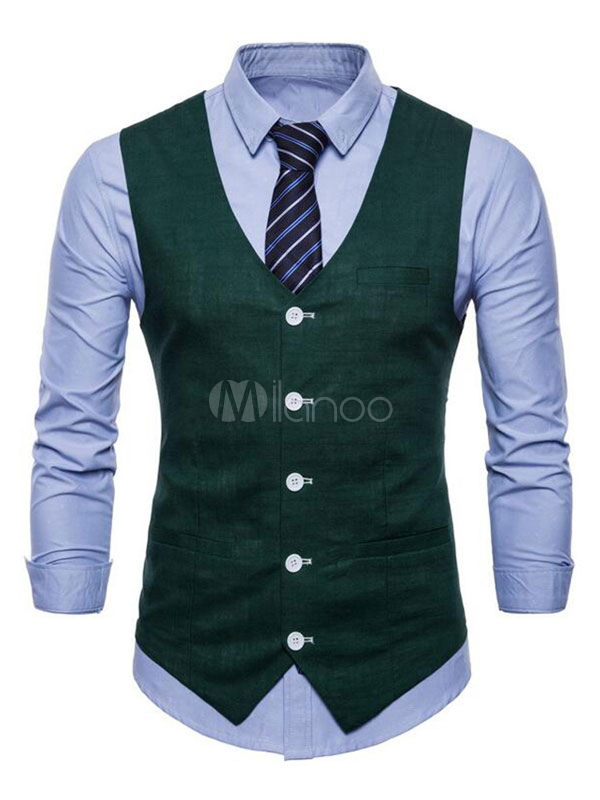 Buy Men Suit Vest V Neck Cotton Linen Pocket Regular Fit Casual Waistcoat for $22.94 in Milanoo store