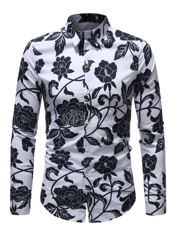 f022616d18d9 Camisa Floral Masculina Plus Size Branco Camisa Manga Longa-No.1 ...