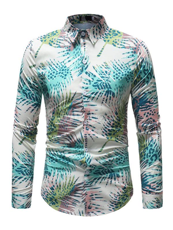 comprar venta más barata el más baratas Camisa de playa para hombre Camisa de manga larga verde estampado tropical  con estampado tropical