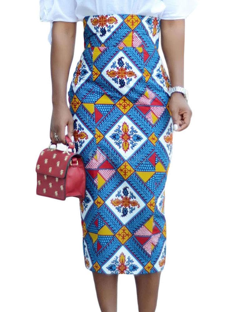 1d729676ff0e Femmes Jupe crayon ethnique jupe mi-longue imprimé géométrique-No.1 ...